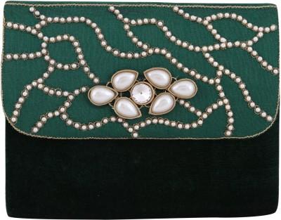 Vdesi Ethnic Women Casual, Evening/Party, Formal, Festive Green, Gold, White Velvet, Silk Sling Bag