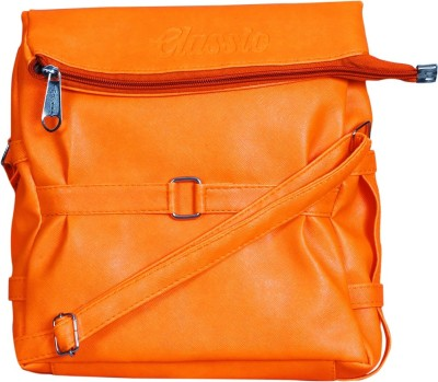 Triveni Women Orange Rexine Sling Bag