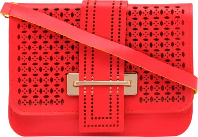 Pink Rose Women, Girls Red PU Sling Bag