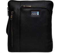 Adone Men & Women Black Genuine Leather Sling Bag