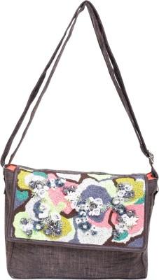 Jademist Women Brown Cotton Sling Bag