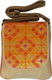 Bhamini Women Orange Brocade Sling Bag