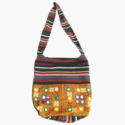 Old School Ethnic Girls Black Cotton Sling Bag