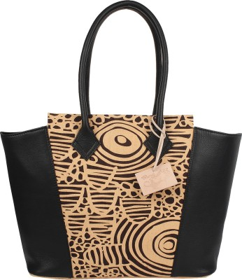 Rub & Style Women Black Genuine Leather Tote