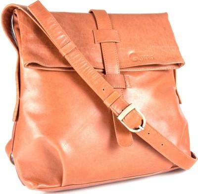 Quero Women Casual Tan Genuine Leather Sling Bag