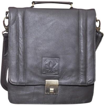B-World Men Black Genuine Leather Sling Bag