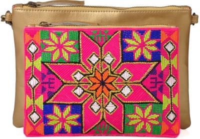 Goguava Women Gold PU Sling Bag