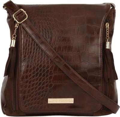 Lino Perros Women Brown Leatherette Sling Bag
