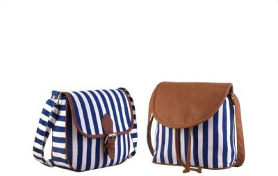 Ayeshu Women Blue Canvas Sling Bag
