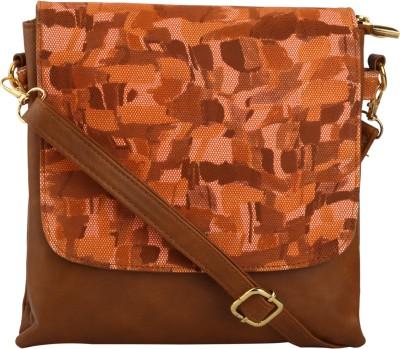 Quality Creators Women Brown PU Sling Bag