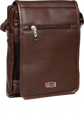 Just Bags Men Brown PU Sling Bag