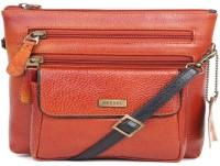 Bessel Women Orange Genuine Leather Sling Bag