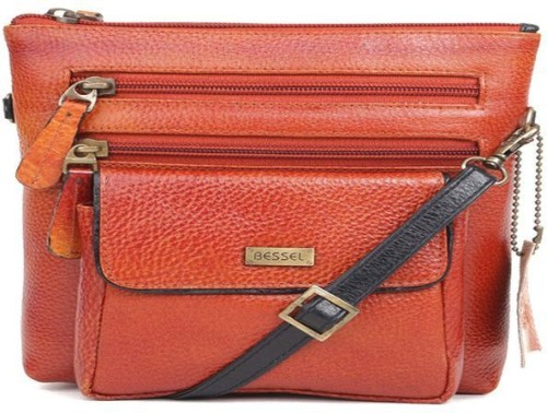 caea013a1 Buy Bessel Women Orange Genuine Leather Sling Bag at best price in India -  BagsCart