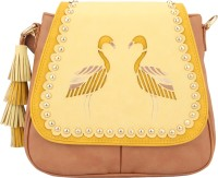 D'oro Women Yellow PU Sling Bag