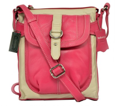 Indostyle Women Casual Pink Genuine Leather Sling Bag