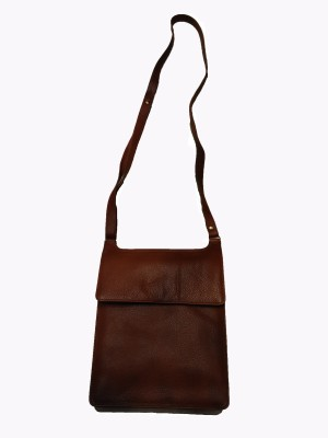 Leather Mall Men, Women Casual Tan Genuine Leather Sling Bag