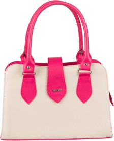 Lady World Girls, Women Beige, Pink PU Hand-held Bag