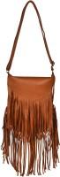 BLUR Women Orange, Gold Leatherette Sling Bag