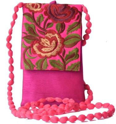Mahadev Exports Women Pink Silk Sling Bag