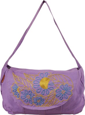 The Jute Shop Women Formal Purple Cotton Sling Bag