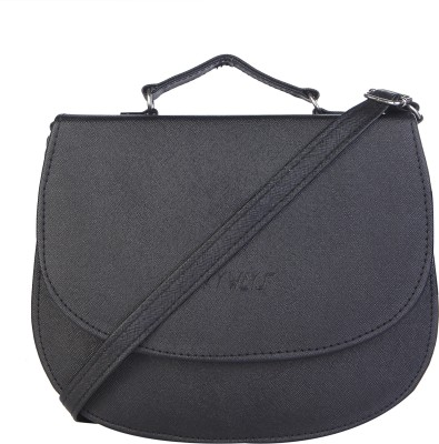 SkyWays Girls, Women Black Leatherette Sling Bag