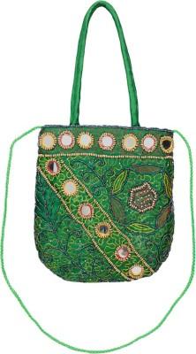 VERMELLO Girls, Women Casual, Evening/Party Green Silk Sling Bag
