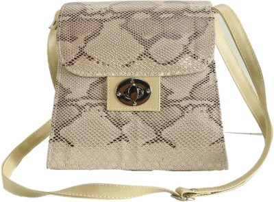 Naitik Products Women Beige Leatherette Sling Bag
