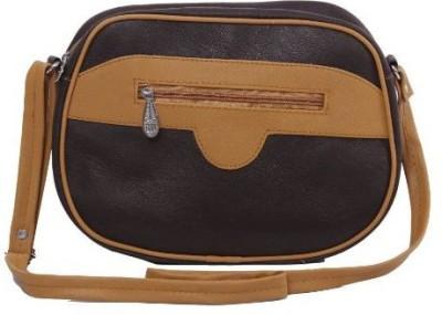 Kuero Women Tan, Brown Leatherette Sling Bag