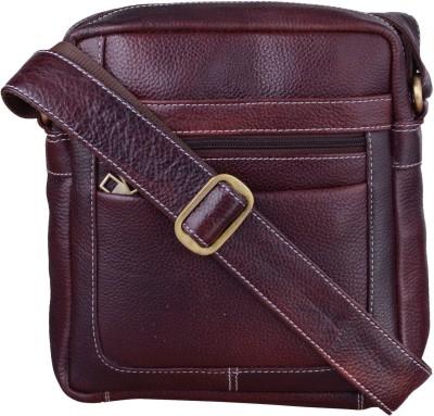 Bluwhale Men, Women Brown Genuine Leather Sling Bag