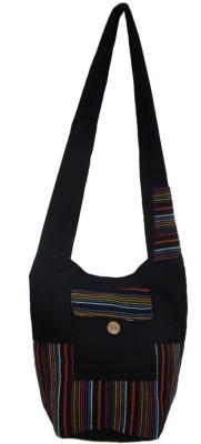 The Living Craft Women Black Canvas Sling Bag