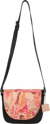Rub & Style Women Black Genuine Leather Sling Bag