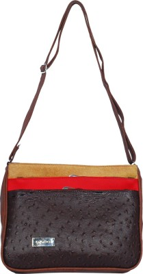 Kshipra Fashion Girls, Women Brown, Red, Brown Leatherette Sling Bag