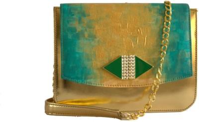 Demure Women Formal Green, Gold Canvas, PU Sling Bag
