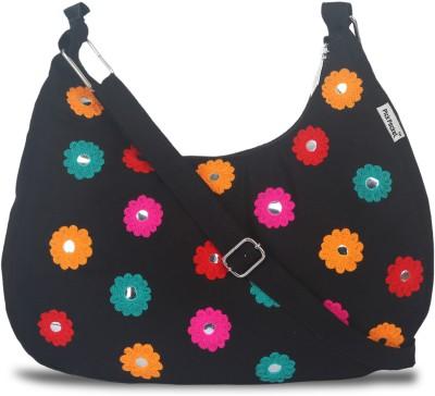 pickpocket Girls Black Canvas Sling Bag