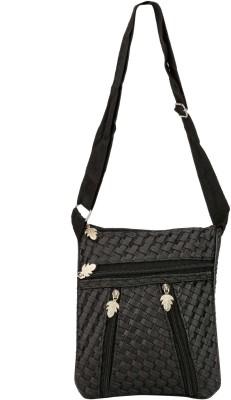 Glitters Girls Casual, Formal Black Rexine Sling Bag