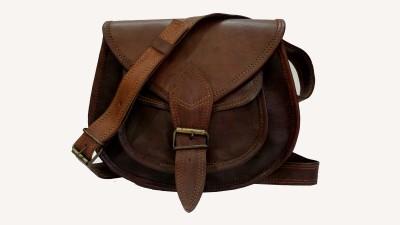 EKLCOM Girls, Boys Brown Genuine Leather Sling Bag
