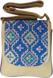 Bhamini Women Blue Brocade Sling Bag