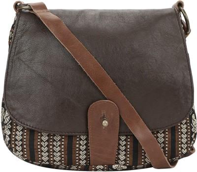 Nandeetas Women Brown Genuine Leather, Brocade Sling Bag
