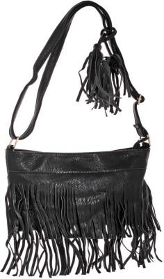 abrazo Girls Casual Black PU Sling Bag