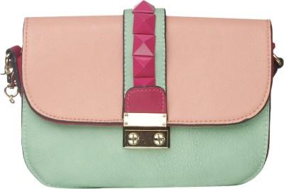 Riti Women Brown, Green Polyester Sling Bag