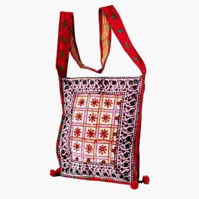 Villcart Girls Red Cotton Sling Bag