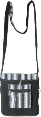 HR Handicrafts Girls Black Canvas Sling Bag