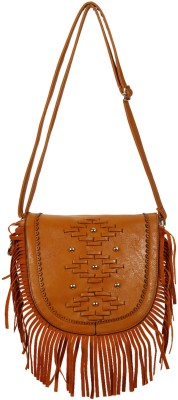 Colors Inc. Women Tan Leatherette Sling Bag