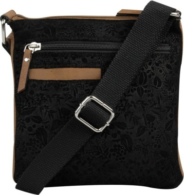 Hunt Women Casual Black Genuine Leather Sling Bag