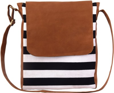 Lychee Bags Girls Casual Black, Tan Canvas, PU Sling Bag