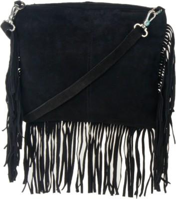Tiara Women Black Leatherette Sling Bag