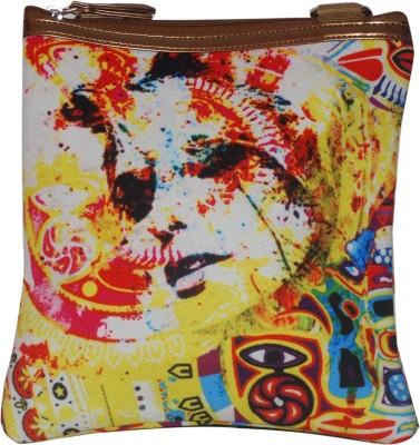 Triveni Women Casual Yellow PU, Canvas Sling Bag