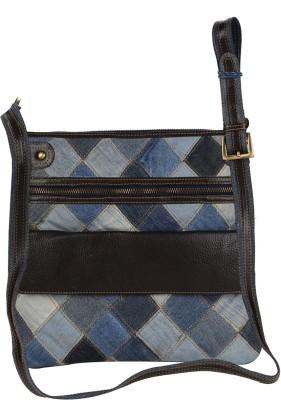 Hibiscus Women Casual Brown, Blue Genuine Leather, Denim Sling Bag