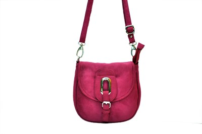 Hide Bulls Girls Pink Velvet Sling Bag