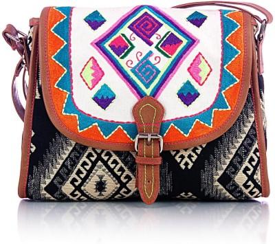 Shaun Design Women, Girls Black Cotton Sling Bag
